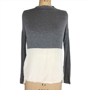 Wilfred Two Tone Silk Mock Neck Blouse